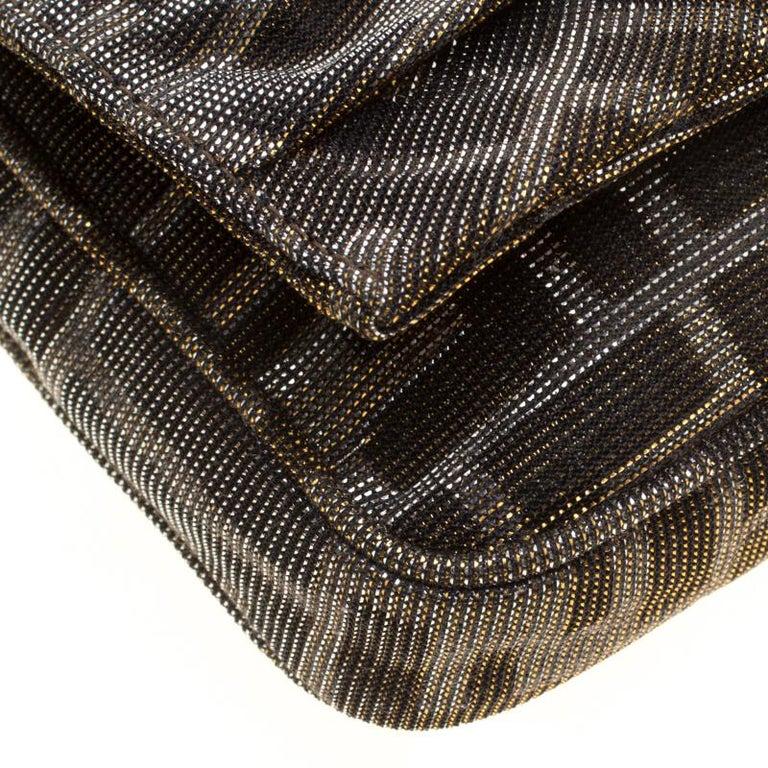 Fendi Metallic Zucca Glitters Baguette Chain Clutch 6