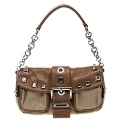 Prada Beige/Tan Nylon and Leather Shoulder Bag
