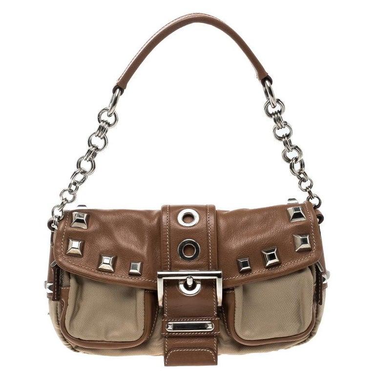 4222fec023 Prada Beige Tan Nylon and Leather Shoulder Bag at 1stdibs