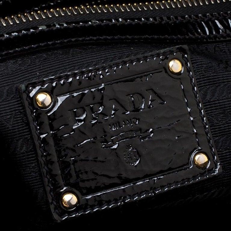 d495c206d58e Prada Black Textured Patent Leather Satchel For Sale 1