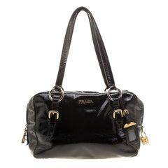 Prada Black Textured Patent Leather Satchel
