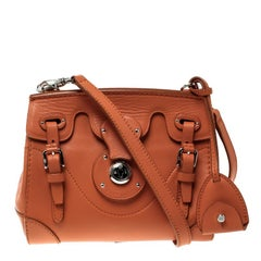 Ralph Lauren Orange Leather Ricky Crossbody Bag