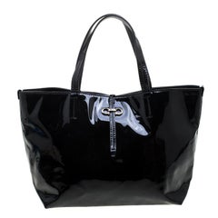 Salvatore Ferragamo Black Patent Leather Small Gavina Tote