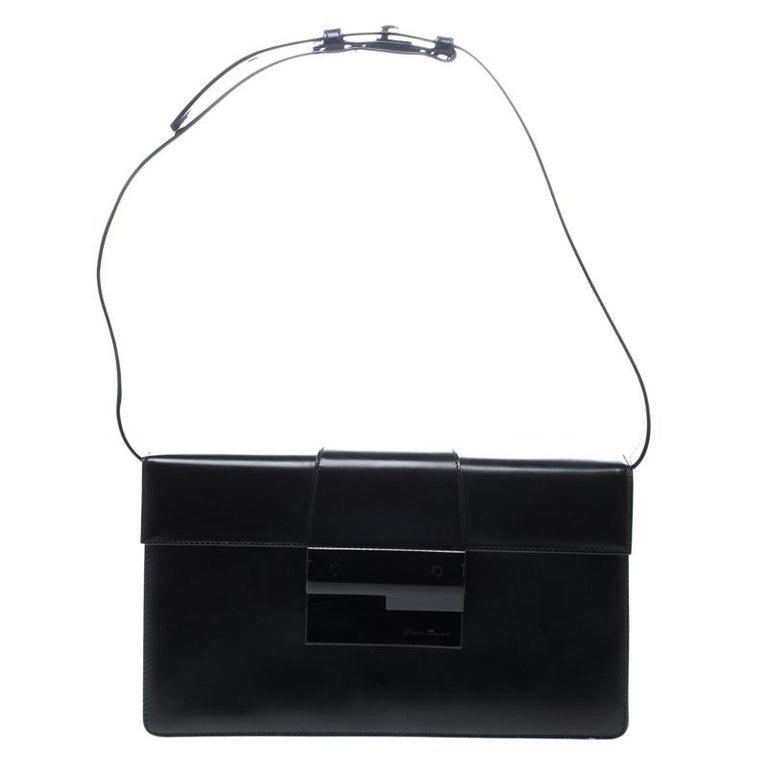 Salvatore Ferragamo Black Leather Clutch