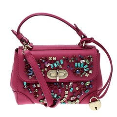 Ralph Lauren Pink Leather Mini Tiffin Crystal Embellished Top Handle Bag