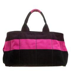 Prada Pink/Black Stripe Canvas Large Tote