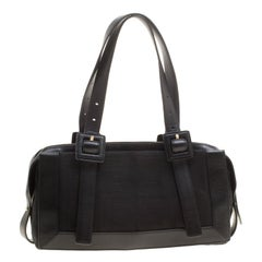 Givenchy Black Signature Canvas and Leather Boston Bag