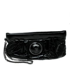Gucci Black Patent Leather Hysteria Clutch