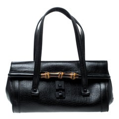 Gucci Black Leather Bamboo Bullet Satchel