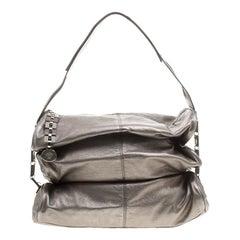Versace Metallic Grey Leather Hobo