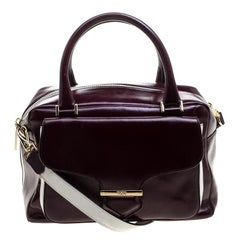 Tod's Burgundy Glossy Leather Small Military Bowler Bag