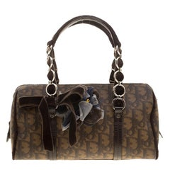 Dior Brown Diorissimo Coated Canavs Satchel