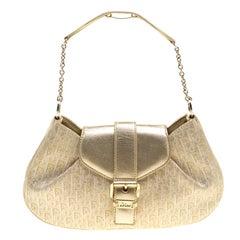 Dior Gold Diorissimo Canvas Pochette Clutch Bag