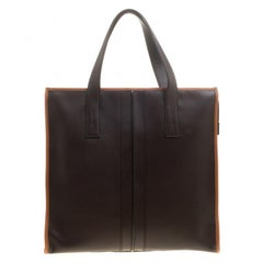 Tod's Dark Brown Leather Slim Script Tote