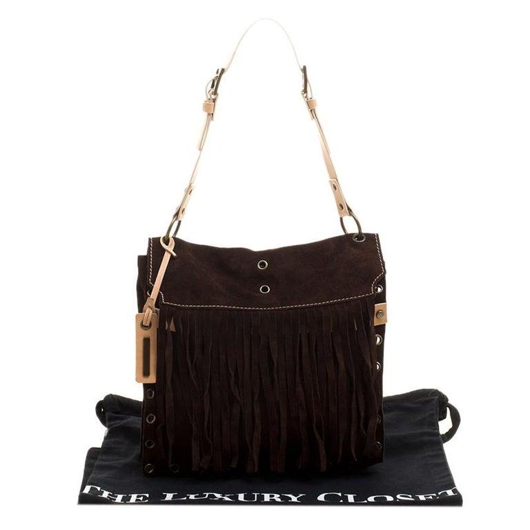 176e583595 Dolce and Gabbana Dark Brown Suede Eyelet Fringe Shoulder Bag at 1stdibs