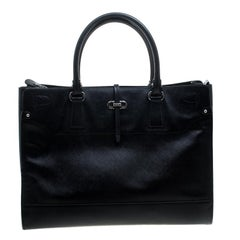 Salvatore Ferragamo Black Leather Large Briana Tote