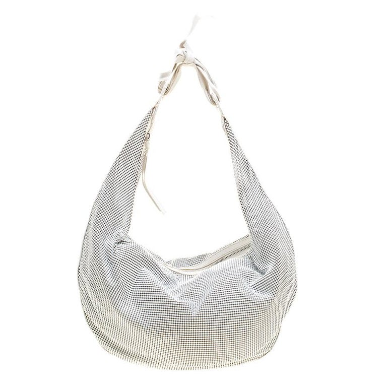 Chloe White Metal and Leather Mesh Hobo For Sale