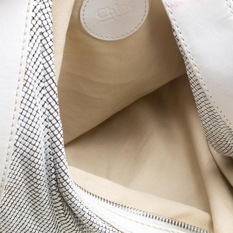 Chloe White Metal and Leather Mesh Hobo For Sale 2
