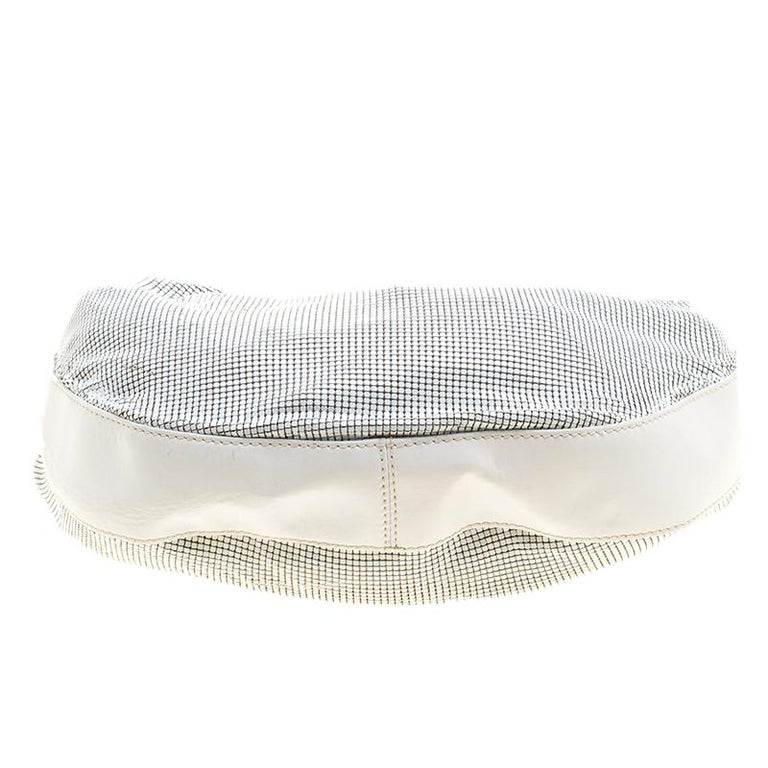 Chloe White Metal and Leather Mesh Hobo For Sale 5