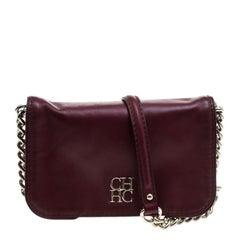 Carolina Herrera Burgundy Leather New Baltazar Crossbody Bag