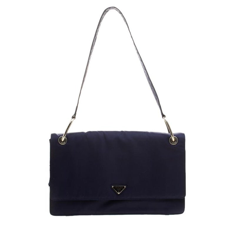 f6c028e25240 Prada Navy Blue Tessuto Nylon Flap Shoulder Bag For Sale at 1stdibs