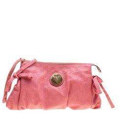 Gucci Pink Guccissima Leather Large Hysteria Clutch