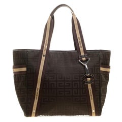 Givenchy Khaki/Brown Signature Nylon and Leather Tote
