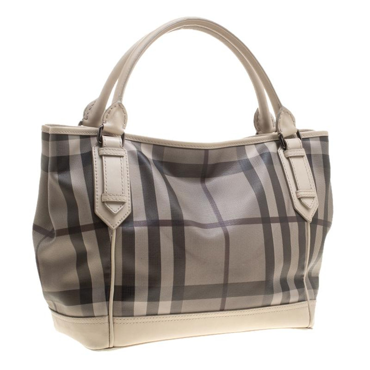 7315b83c0940 Burberry Beige Smoke Check PVC and Leather Tote at 1stdibs