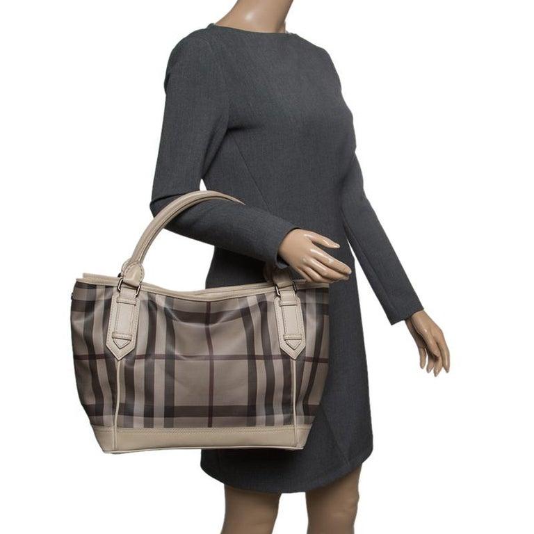 35b993b5824e Burberry Beige Smoke Check PVC and Leather Tote In Good Condition For Sale  In Dubai