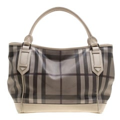 Burberry Beige Smoke Check PVC and Leather Tote