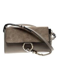 Chloe Light Taupe Leather Mini Faye Shoulder Bag