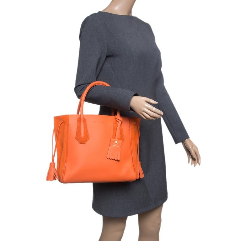 6611faa0c77 Longchamp Orange Leather and Suede Penelope Fantaisie Tote In Excellent  Condition For Sale In Dubai,
