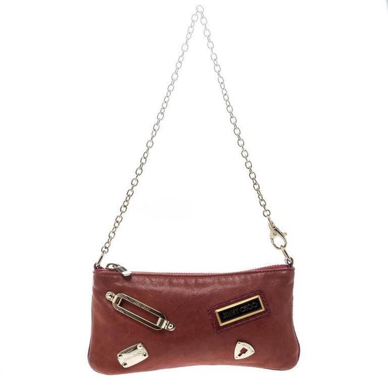 Jimmy Choo Red Leather Chain Bag