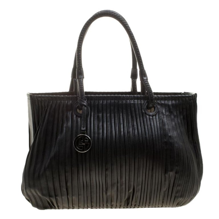 Giorgio Armani Black Pleated Leather Tote at 1stdibs f805c582dd