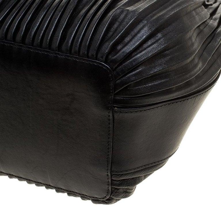 8b066dfb9bbb Giorgio Armani Black Pleated Leather Tote at 1stdibs