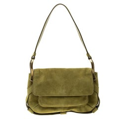 Saint Laurent Green Suede Shoulder Bag