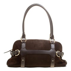 Salvatore Ferragamo Brown Suede and Leather Satchel