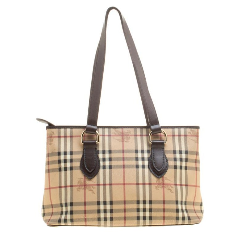 4c2f9ef43b61 Burberry Beige  Dark Brown Haymarket Check PVC and Leather Regent Tote For  Sale