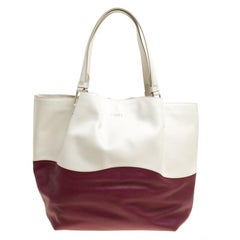Tod's White/Burgundy Leather Medium Flower Tote