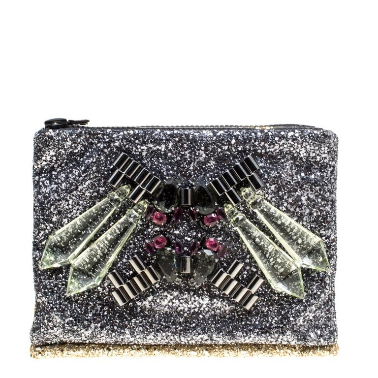 98c48e7869a8f8 Mawi Silver/Gold Glitter with Acrylic Perspex Double Clutch at 1stdibs