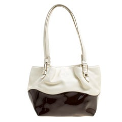 Tod's White/Burgundy Leather and Patent Leather Small Flower Shopper Tote