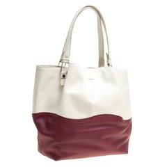 Tod's White/Burgundy Leather and Patent Leather Medium Flower Tote