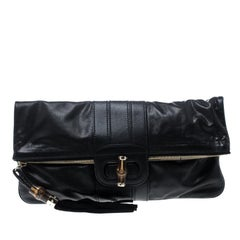 Gucci Black Leather Large Lucy Bamboo Clutch