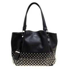 Tod's Black Leather Small Flower Studded Shopper Tote