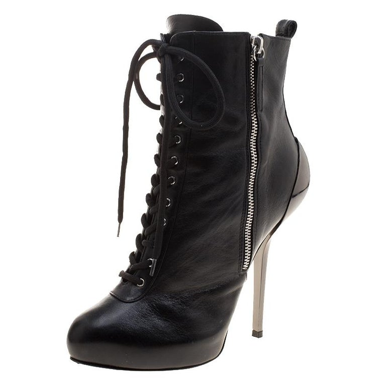 Giuseppe Zanotti Black Leather Lace Up Boots Size 37 at 1stdibs 5d7e72b1a24b
