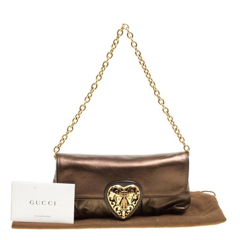 8c3f26d7c47 Gucci Metallic Khaki Leather Hysteria Shoulder Bag at 1stdibs