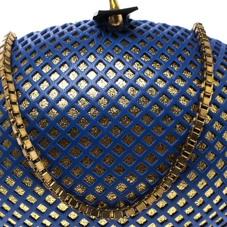 Women's Nicolas Theil Blue and Metallic Gold Leather Mesh Egg Clutch For Sale