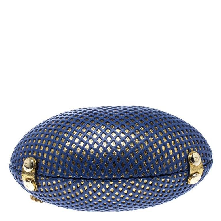 Nicolas Theil Blue and Metallic Gold Leather Mesh Egg Clutch For Sale 1