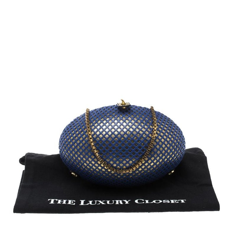 Nicolas Theil Blue and Metallic Gold Leather Mesh Egg Clutch For Sale 2