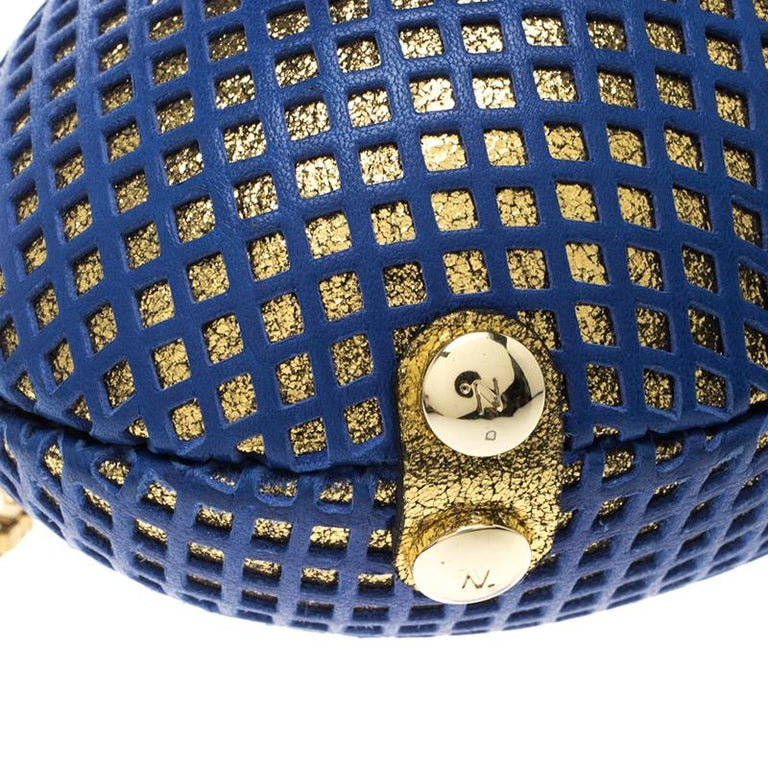Nicolas Theil Blue and Metallic Gold Leather Mesh Egg Clutch For Sale 3
